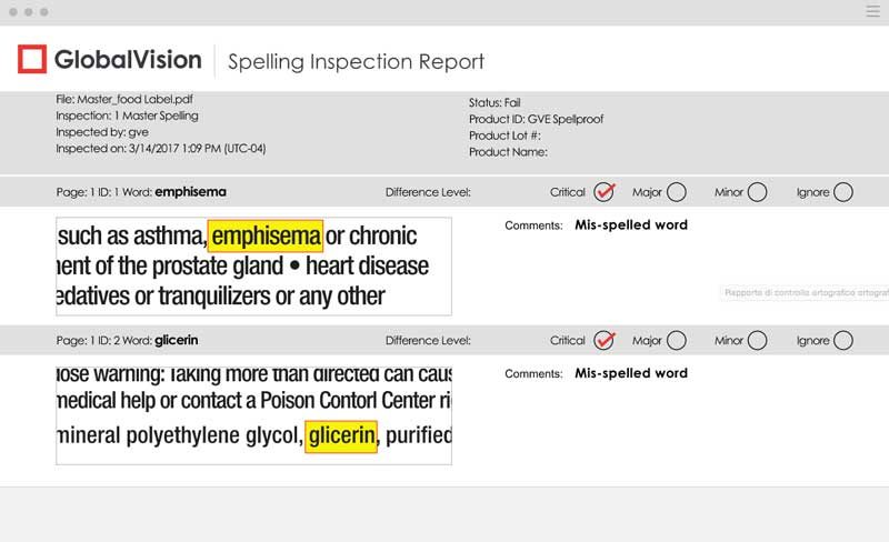 report spelling inspection global vision
