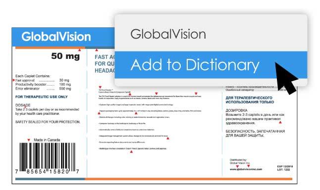 dizionario personalizzato proofreading